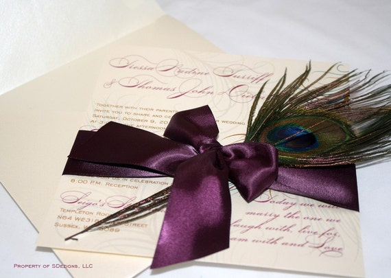 Peacock Wedding Invitations - Real feather - No pocket