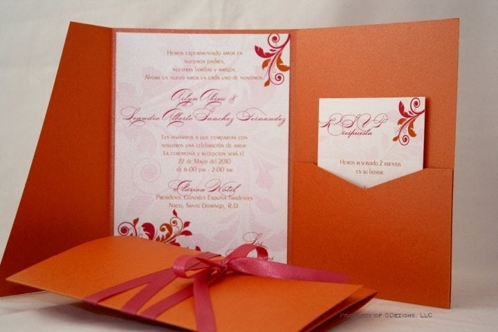 Fuschia And Orange Wedding Invitations