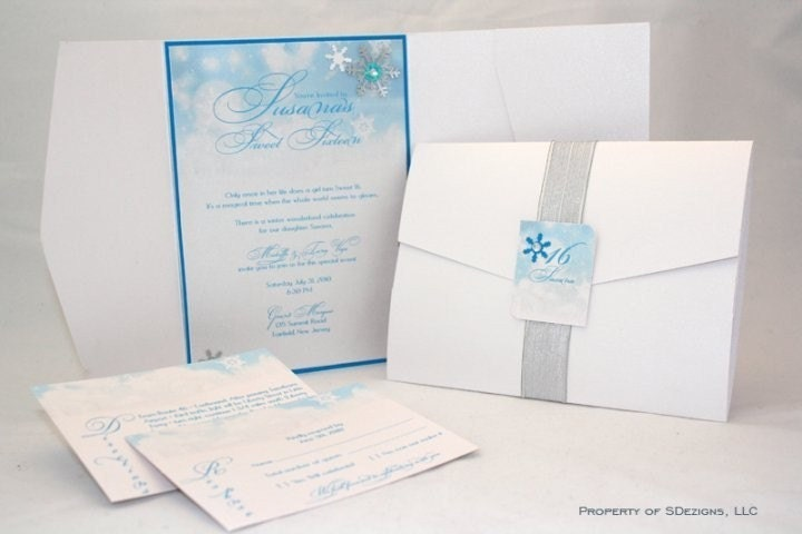 Winter Wonderland Invitations Snowflakes Winter Snow