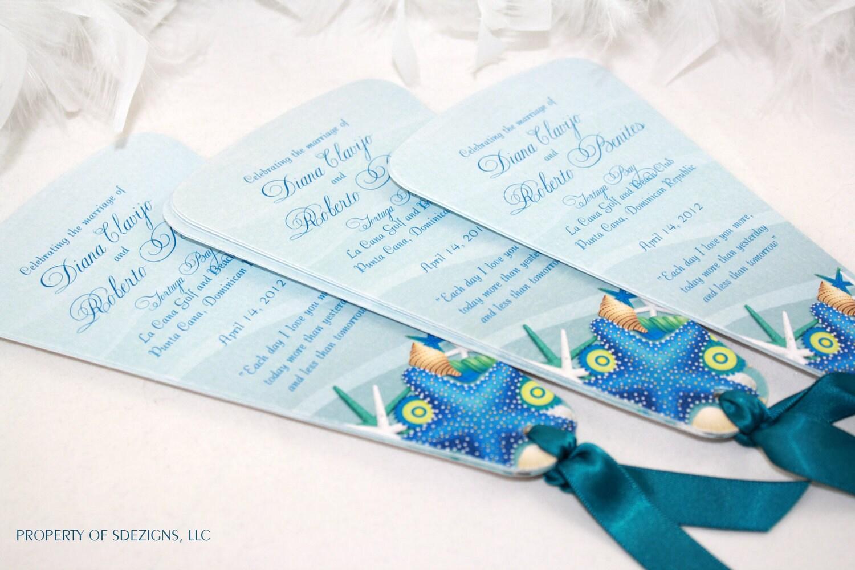 Seashell Beach Destination Wedding Fan Programs