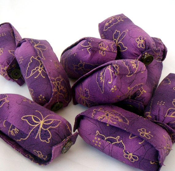 Purple Butterfly Fabric Hair Curlers size Large