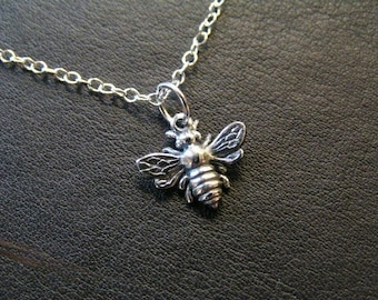 Bee Sterling Silver Necklace with 3-inch extender