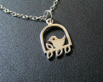 Bird on a Perch Sterling Silver Necklace with 3-inch extender