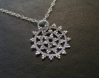 Snow Flake Mandala Sterling Silver Necklace with 3-inch extender