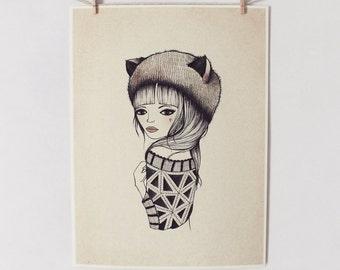 FOX GIRL Print 9X12