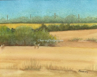 Country Fields with Deer fine art watercolor painting