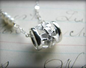 Plumeria White Flower Barrel Petite Pendant Necklace Crystals Sterling Silver Hawaii Aloha Gift Bridesmaids Bride Girlfriend Best Friend