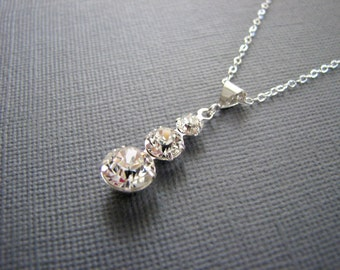 DIAMONDS On FIRE Crystal NECKLACE Swarovski Crystals Sterling Silver Classic Bridal Necklace