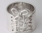 Valentine Gift Sterling Silver Wide Band Wired Corset Ring With Bow Free Shipping