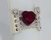 Sterling Silver Chained to Your Heart Ring with Swarovski Crystal