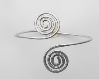 Sterling Silver Wire Double Swirl Cuff Bracelet