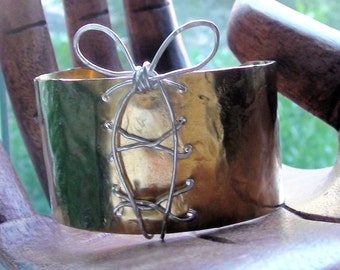 Brass Cuff, Wide Bracelet, Boho Cuff, Sterling Wired Cuff, Hammered Cuff, Textured Jewelry