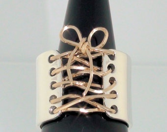 Wide Band Corset Ring Sterling Silver 14K Gold with Bow Free Shipping