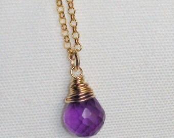 14K Amethyst Necklace, Briolette Drop Pendant, Minimalist Necklace, Amethyst Jewelry, gold filled necklace