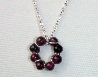 Dainty Garnet  Bead and Sterling Wire Circle Necklace