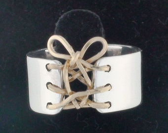 Mini Corset Ring, Sterling Silver Band, Boho ring, laced up ring