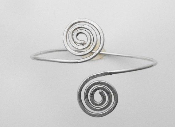 Sterling Silver Bracelet, Hammered Bracelet, Wire Bracelet, Double Swirl Cuff Bracelet