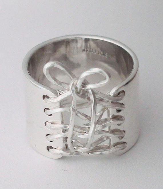 Anniversary Gift Sterling Silver Wide Band Wired Corset Ring With Bow Free Shipping