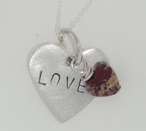 Sterling Heart Stamped Word LOVE Poppy Jasper Heart Charm Necklace