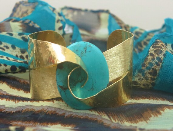 Abstract cuff, Rustic Bracelet, Wide cuff , Turquoise bracelet, Modern jewelry, boho