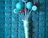 Turquoise & Red Groom/Groomsmen Boutonniere