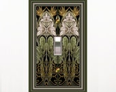 0541x  Art Nouveau Mucha Pink on Black  mrs butler Switchplate  (Choose size/price from dropdown)