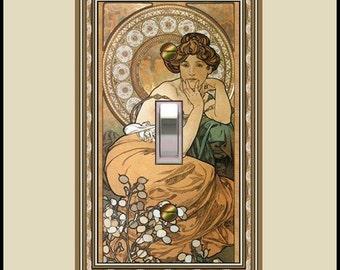 Art nouveau mucha topaz girl decorative switchplate  1431-t1