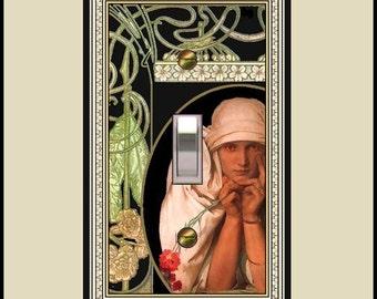 Art nouveau mucha madame jaroslava switch plate  788-t1