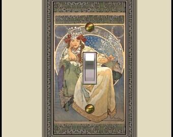 art nouveau mucha princess hyacinth switch plate  1436-t1
