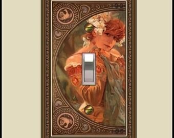 Art nouveau mucha sara bernhard switch plate  1433-t1