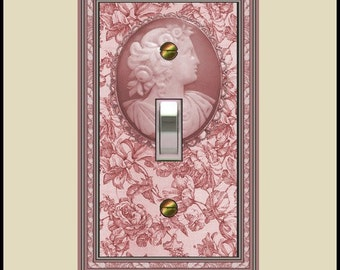 cameo on mauve toile design switch plate  1640a-t1