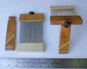Pack Flat Mini Wool Combs in Cherry Wood for processing wool roving (top)