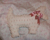 Shabby Chic Chenille Scottie Dog Pillow in Pink