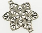 WINTER SALE 35% off - Large French vintage filigree floral ornament connector