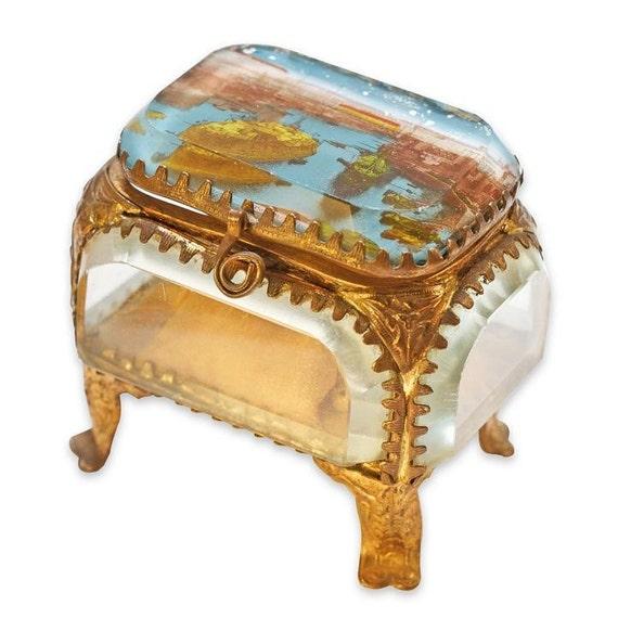 Beautiful French antique beveled glass box jewelry display vitrine - Maritime Port scenery