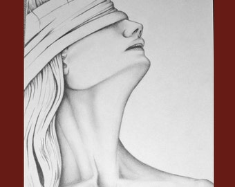 ORIGINAL Art Drawing Title The Blindfold