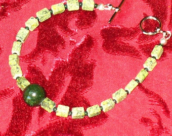 Green Serpentine and Green Quartz Toggle Bracelet~Luck~Prosperity~Wealth~Money