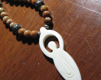Bone Goddess and Graduated Feldspar bead necklace~Ritual Jewelry~Spiral Goddess