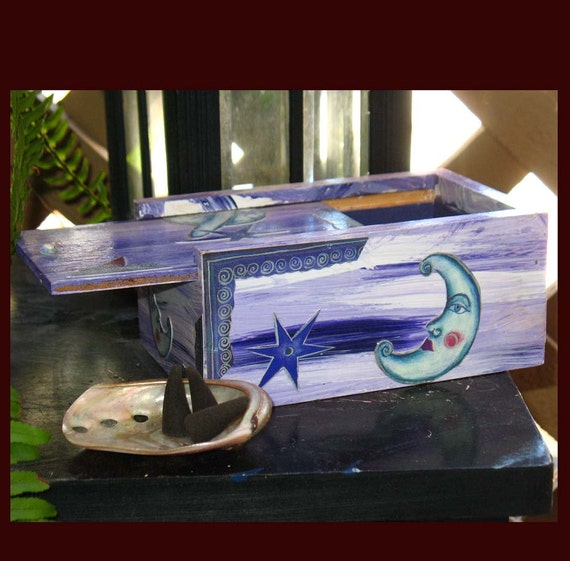 Pruple Moon Incense Box with Supplies