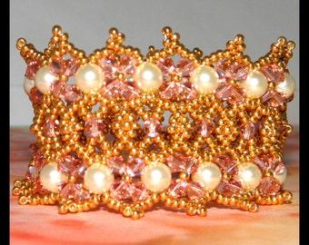 Bracelet with Swarovski crystals,swarovski crystal pearls and seed beads, Christmas Gift