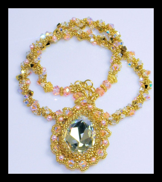 SALE-Angelic-Necklace with Swarovski crystal stone, bicones, pearls 22kt gold seed beads and 22kt Vermeil gold