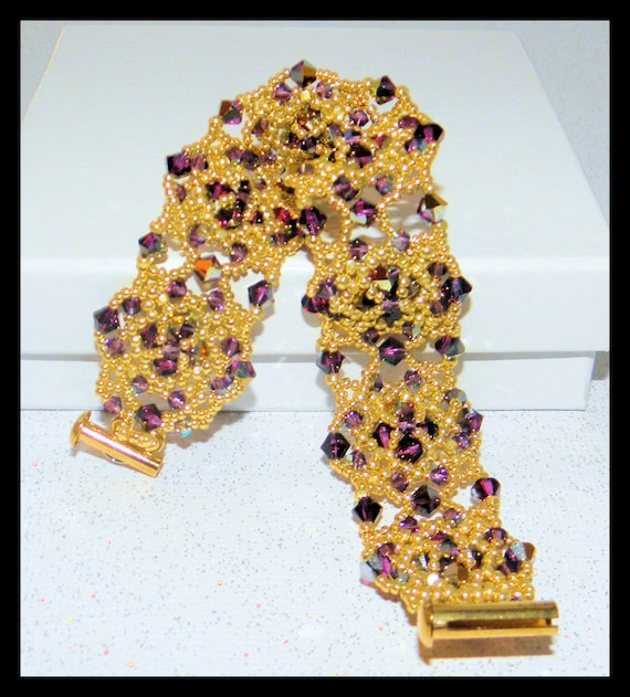 SALE-Victoria Angelica   -Bracelet with Swarovski crystals and seed beads