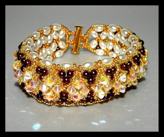 Chocolate and Diamonds - Bracelet with Swarovski crystals,pearls,seed beads