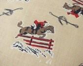 HORSE jumping Lot 100 pieces vintage cotton  equestrian motif 40s 50s