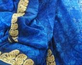 Hand painted vintage sari. Rural scene royal blue