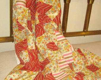 Vintage quilt top fifties fun, 50s fabric, boho patchwork, festival tent, hippie decor