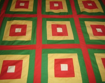 White House Steps Vintage Quilt Top  Bedspread  hand pieced   red yellow green