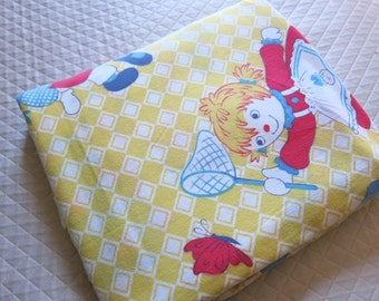 Raggedy Anne and Andy vintage cotton sheet.