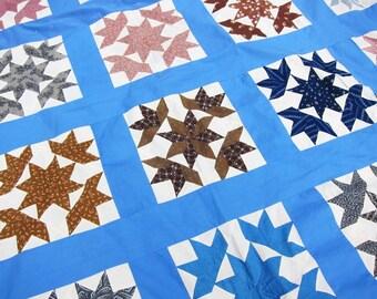 antique quilt top, Star quilt, 19th century, best fabrics, unfinished quilt, unfinished patchwork, vintage quilt top, antique fabrics