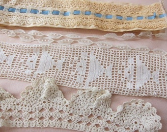 Vintage lace trim  , lot 10 , vintage antique  collar cuff, vintage dressmaking, crafting lot